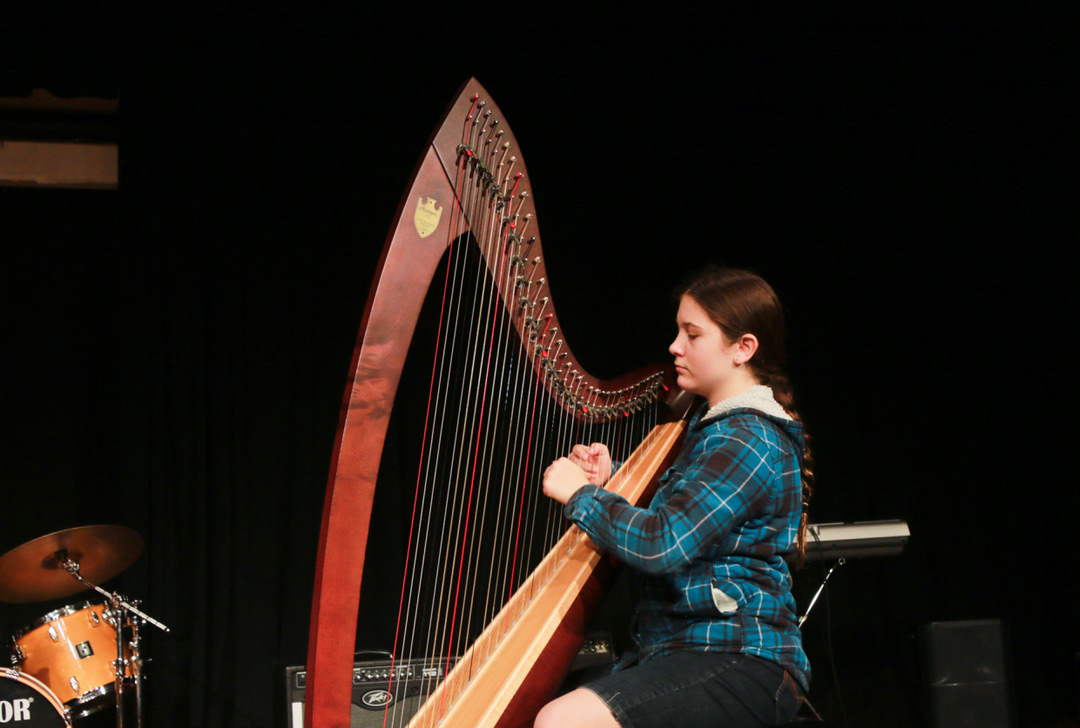 Freshman Natalie Park plays the harp. (Photo by Shimin Zhang)