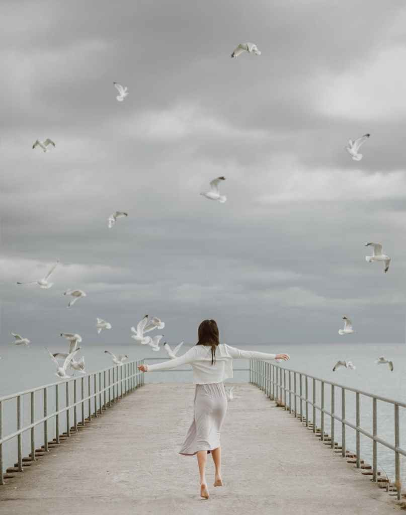 seagulls flying over a woman walking on a dock
