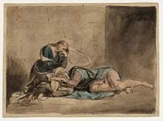 Le Roi Lear et Cordelia à la prison. Le bannissement de sa fille et sa croyance aveugle dans les flagorneries de ses deux filles les plus âgées mèneront Lear à sa perte.