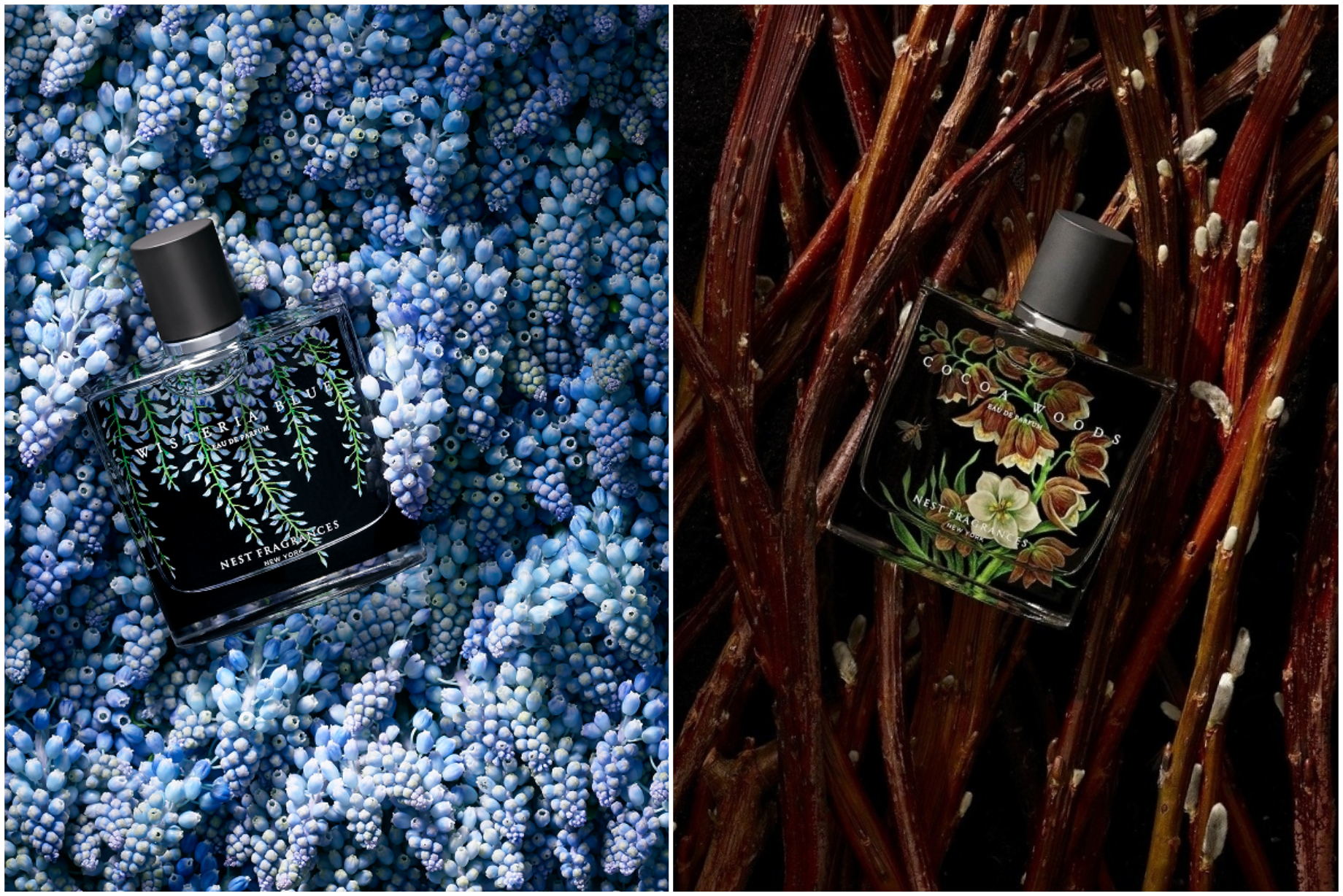 New In: Cocoa Woods and Wisteria Blue by NEST Fragrances