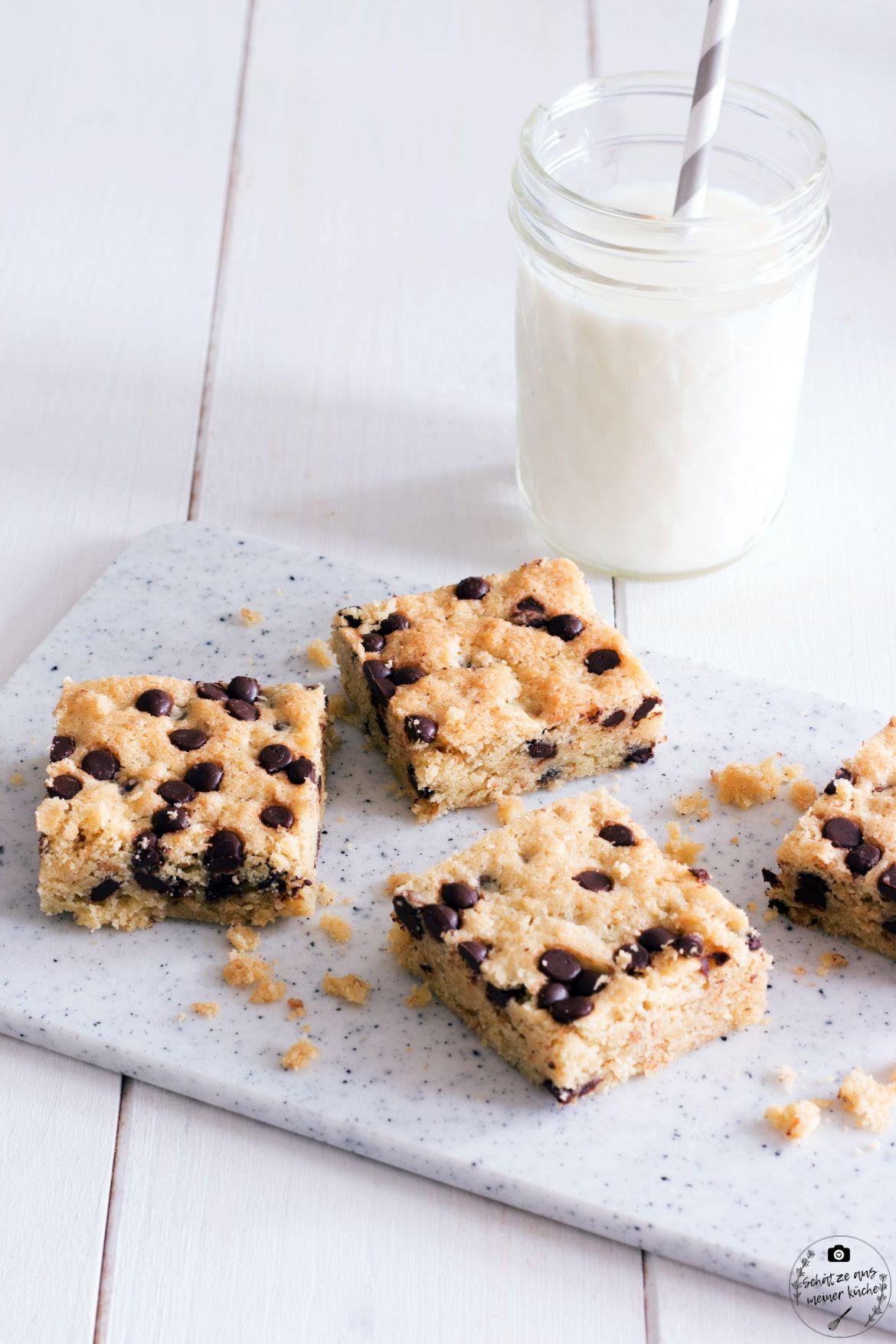 Chocolate Chip Cookie Bars mit Kokos