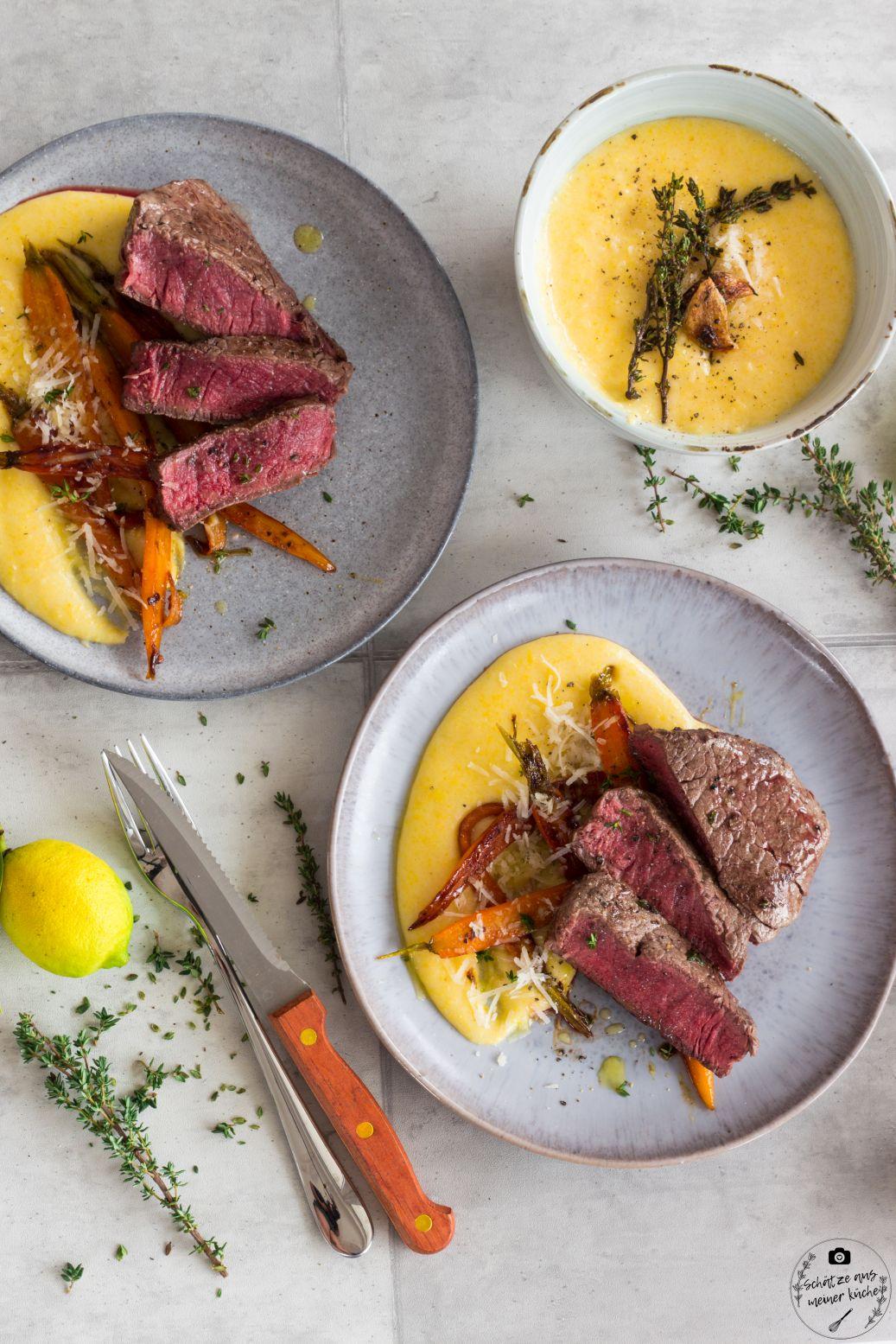 AEG Combo Hob Rinderfiletsteaks mit glasierten Möhren und cremiger Polenta