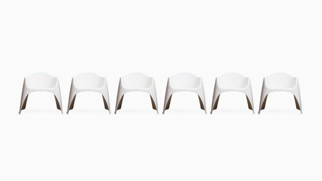 Walter Papst garden chairs in white fiberglass at Studio Schalling
