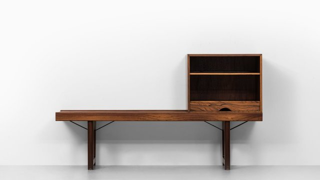 Torbjørn Afdal Krobo bench with LP box at Studio Schalling