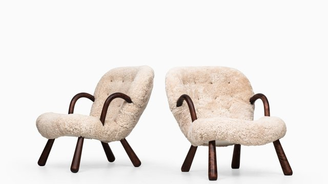 Philip Arctander clam easy chairs in sheepskin at Studio Schalling