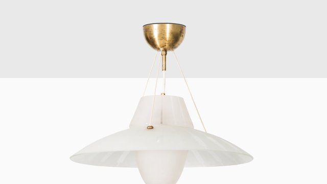 Ceiling lamp in brass and etched glass at Studio Schalling