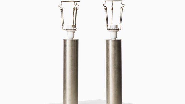 Pair of table lamps in steel at Studio Schalling