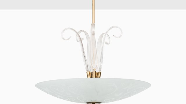 Ceiling lamp in brass and glass by Orrefors at Studio Schalling