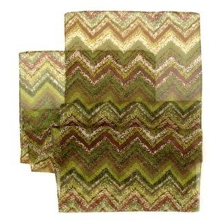Schal grün-braun mit Zick-Zack Muster