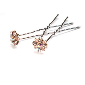 Haarnadel Blume mit Blüten in altrosa und fünf Strasssteinen