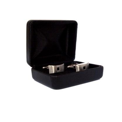 Manschettenknöpfe aus Edelstahl mit schwarzem Glas-Stein und Geschenkbox