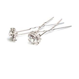 Haarnadel Diamantform & Kranz mit Strasssteinchen