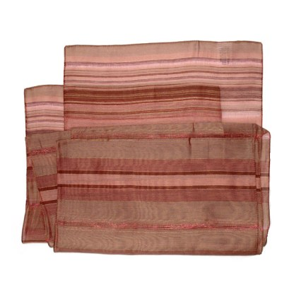 Nylon-Viskose Schal in rot Tönen gestreift