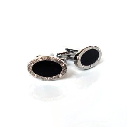Manschettenknöpfe oval aus Edelstahl mit Zirkoniasteinen