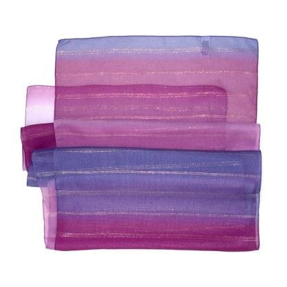 Polyester Schal in lila-bordeaux mit goldenen Lurex Streifen
