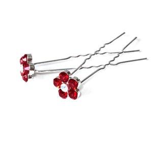 Haarnadel Blume rot 5 Strasssteine