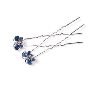 Haarnadel Schmetterling blau mit Strasssteinen