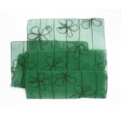 Nylon-Polyester Schal in grün mit Blumen