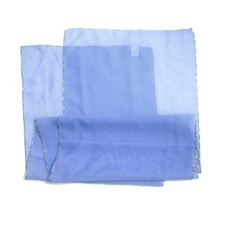 Polyester Schal in blau mit silbernem Rand