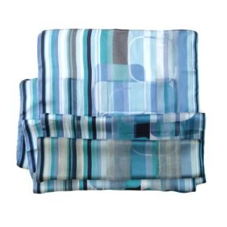 Polyester Schal blau türkis gestreift