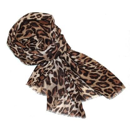 Schal mit leoparden Muster braun (animal print) mit Lurex