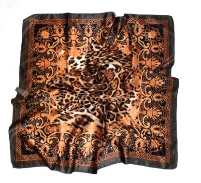 Italienisches Halstuch braun Leoprint 90 x 90 cm