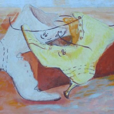 Pastel en acryl illustratie verhaal schoenen