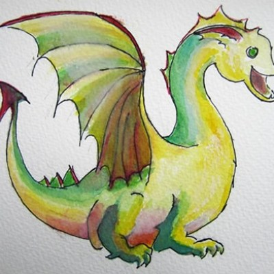 Ontwerp draak voor een muurschildering