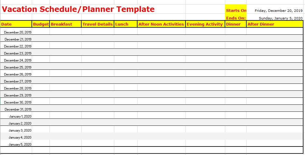 6 Free Vacation Schedule Templates In Ms Word And Ms Excel
