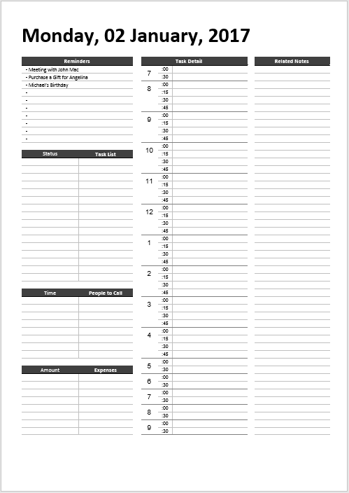 5 Free Daily Schedule Templates in MS Word, MS Excel and PDF