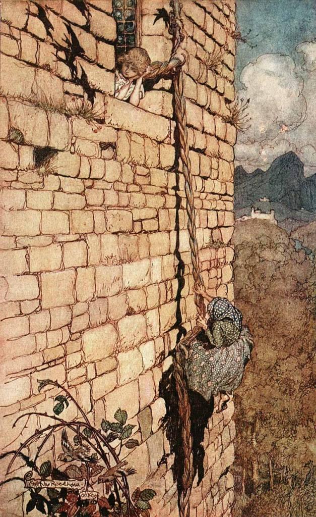 La strega si arrampica ai capelli di Rapunzel per poter salire sulla torre (Grimm). - Artista: Paul Zelinsky.