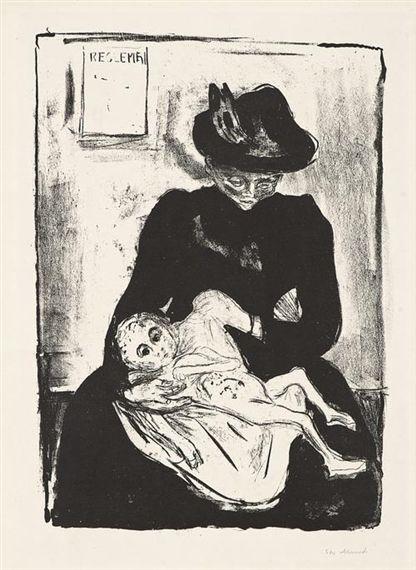Eredità. Dipinto di Edvard Munch. Il volto di una madre sofferente per la morte del neonato, malato di sifilide.