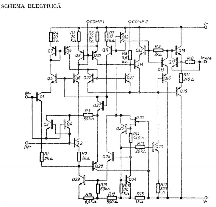 Amplificator operațional cu derivă termică redusă βM 108 A/208 A/308 A