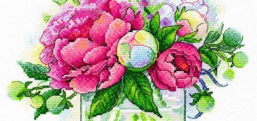 schema punto croce vaso di fiori con petunie