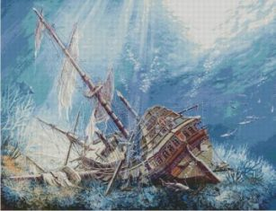 schema punto croce gratis nave in tempesta con relitto di galeone