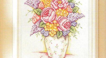 schema punto croce vaso con peonie e narcisi- schemi a punto croce da scaricare online
