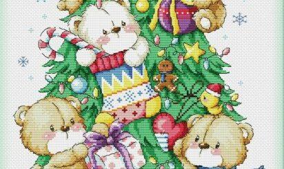 schema punto croce orsetti che addobbano l albero di natale