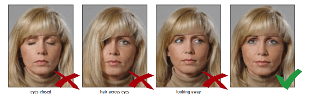 Schengen Visa Photo Requirements - Eyes and Line of Sight