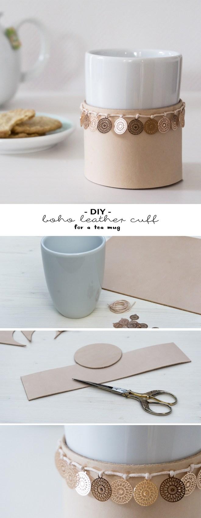 schereleimpapier DIY und Upcycling Blog aus Berlin - kreative Tutorials für Geschenke, Möbel und Deko zum Basteln -Basteln mit Leder: DIY Boho Leder-Manschette für Teebecher