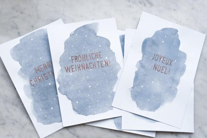 Weihnachtskarten Blanko.Aquarell Weihnachtskarten Basteln Schereleimpapier Diy