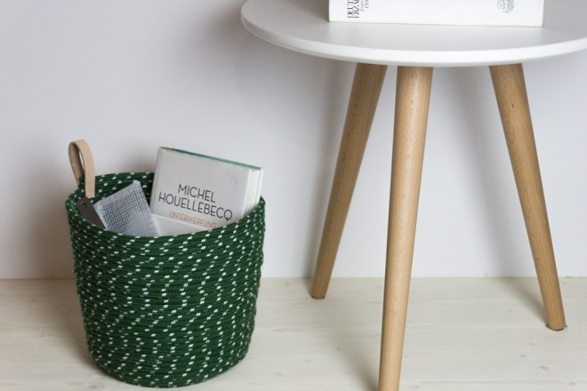 DIY Korb aus Seil mit Leder