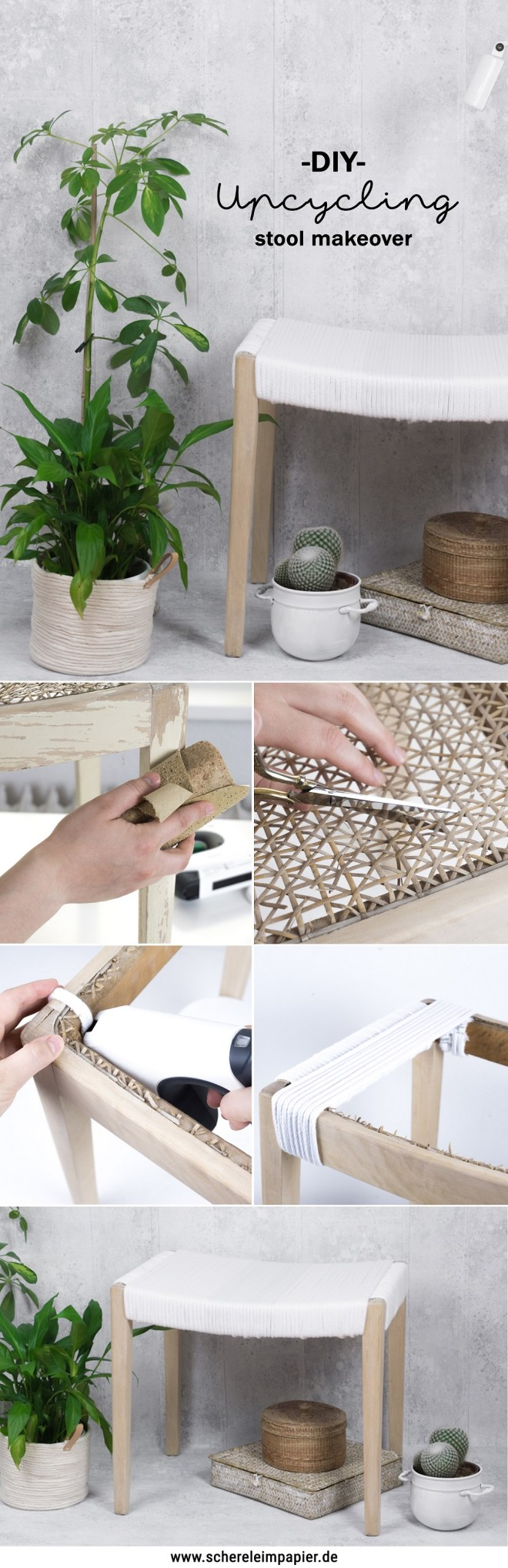 schereleimpapier DIY und Upcycling Blog aus Berlin - kreative Tutorials für Geschenke, Möbel und Deko zum Basteln – Upcycling Möbel Hocker aufarbeiten