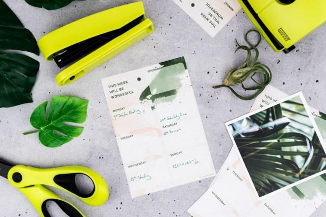 Wochenplan zum Ausdrucken Freebie kostenloses Printable-schereleimpapier DIY und Upcycling Blog aus Berlin - kreative Tutorials für DIY Geschenke, DIY Möbel und DIY Deko zum Basteln