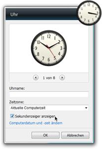 Uhr-Minianwendung: Dialogfeld Einstellungen, Sekundenzeiger anzeigen