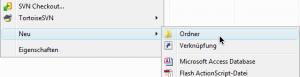 Windows-Explorer Kontextmenü: Neu > Ordner