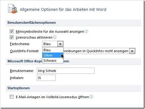 Office-Optionen: Allgemeine Optionen, Farbschema Blau/Silber/Schwarz