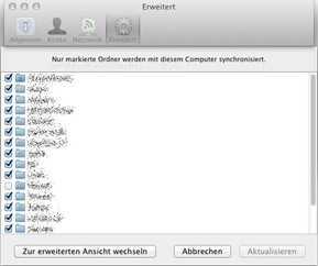 Dropbox: Selektive Synchronisation in Mac OS X