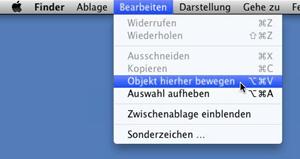Mac OS X Lion, Menü Bearbeiten, Objekt hierher bewegen