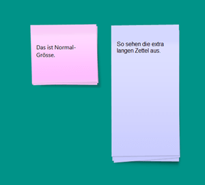 Longer Notes: Normale Zettel-Grösse und Lang-Version.