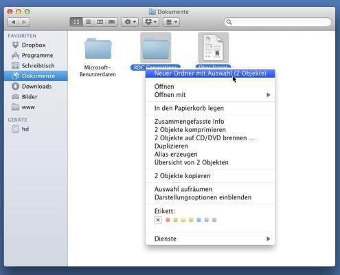 Mac OS X Lion: Neuer Ordner mit Auswahl